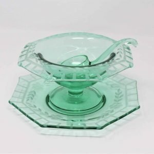 Mayonnaise Bowl with Underplate & Ladle, Octagon, 3 Pc Set, Depression Glass