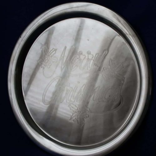 "Tray, Silver Plate by International Silver, Engraved ""Merry Christmas"""