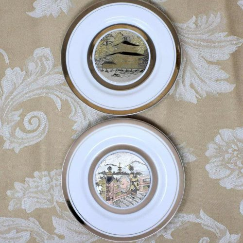 Decorative Plates, Original Chokin Art by Shaddy, Set of 2, Japan