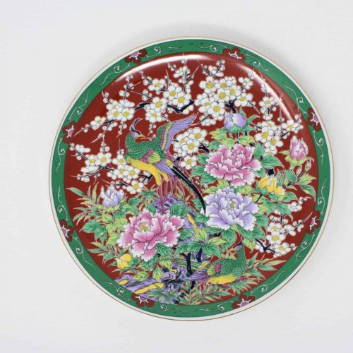 Decorative Plate, Oriental/Asian Pheasants, Red/Multi Color
