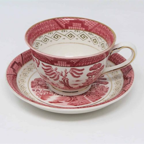 "Teacup and Saucer, ""Sansui"" (Pink/Red Willow) by NIKKO Japan"