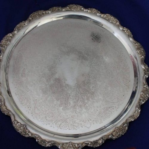 "Tray, Silver Plate, ""Lancaster Rose"" by Poole 19"""