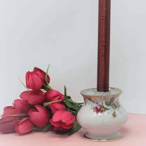 "Candle Holder, ""Moss Rose"" Taper by Chodziez, Poland"