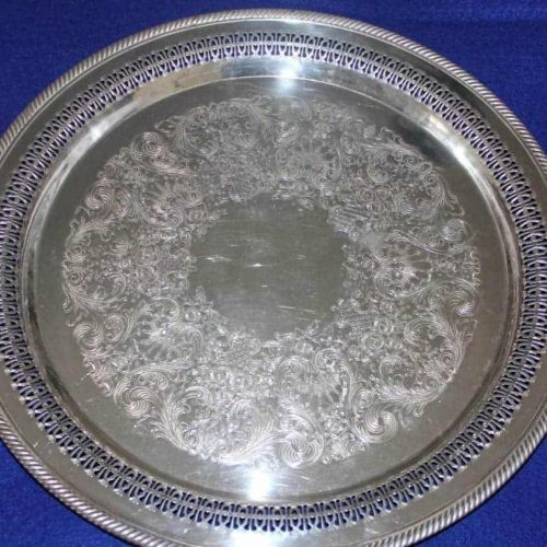 "Tray/Platter Silver Plate, ""Spring Flower"" by Wm Rogers, Reticulated,15"""