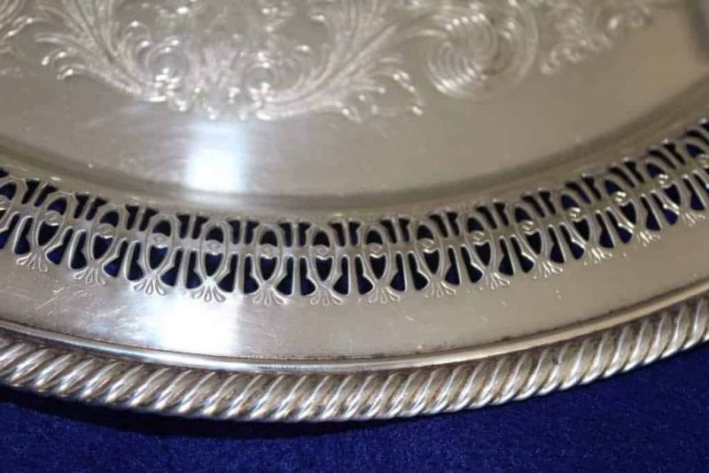 """Tray/Platter Silver Plate, """"Spring Flower"""" by Wm Rogers, Reticulated,15"""""""