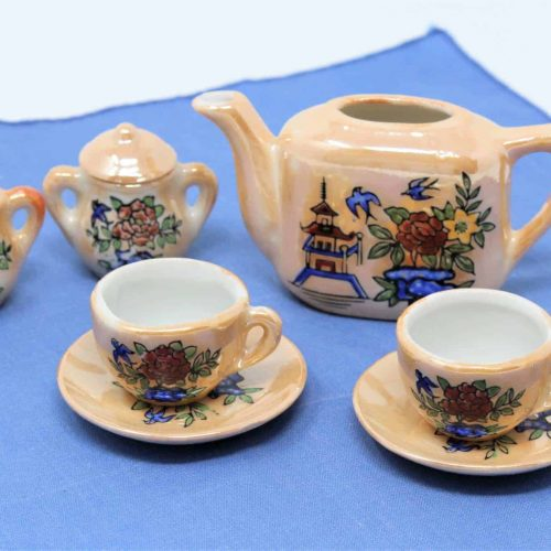 Tea Set for Two, Children's, Iridescent Floral, in Box, Japan