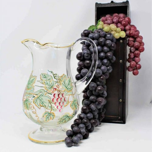 Pitcher, Crystal, Hand Painted Grapes, Footed, 22kt Gold, Romania