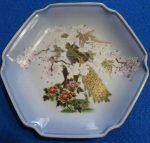 Decorative Plate Blue with Peacocks, Hand Painted - Japan