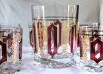 Glasses, Rock/Whiskey with Ice Bucket, DeValBor by Cerve, Mid-Century Modern, 7 Pcs.