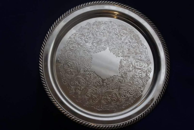 """Tray Serving, Silver Plate by Wm A. Rogers 1881 Rope Edge 12"""""""
