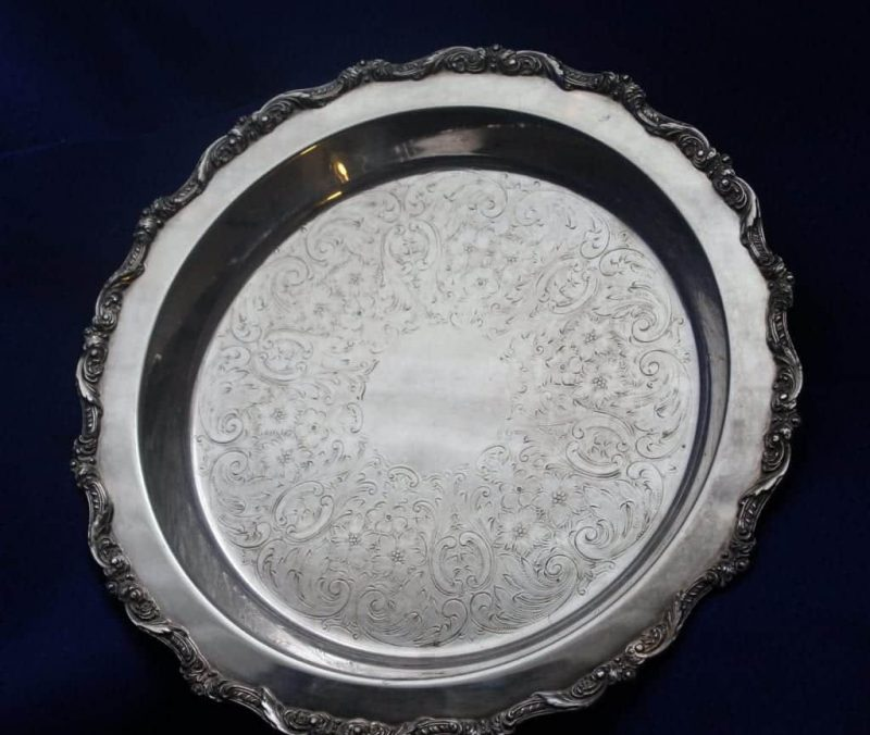 """Pie Server/Plate, Silver Plate Footed, """"Old English"""" 5017 by Poole, 12"""""""