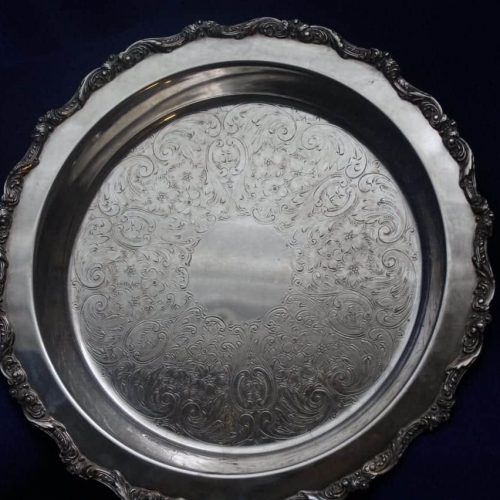 "Pie Server/Plate, Silver Plate Footed, ""Old English"" 5017 by Poole, 12"""