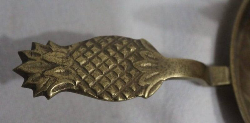 Candle Holder / Chamberstick, Pineapple, Indian Brass