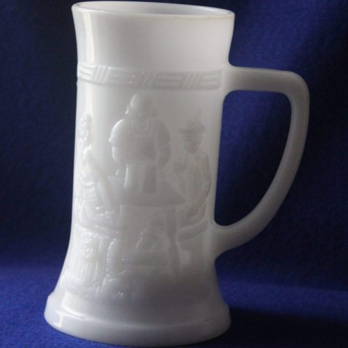 Mug, Beer Stein, Milk Glass with Pub/Bar Scene, Tiara Exclusives