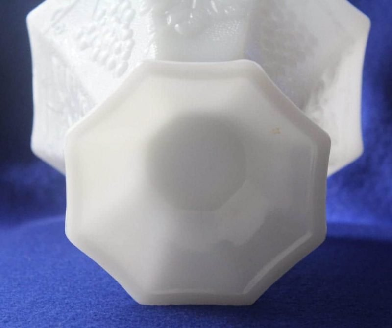 """Candy Dish """"Grape and Leaf Design"""" Milk Glass by Anchor Hocking Footed"""