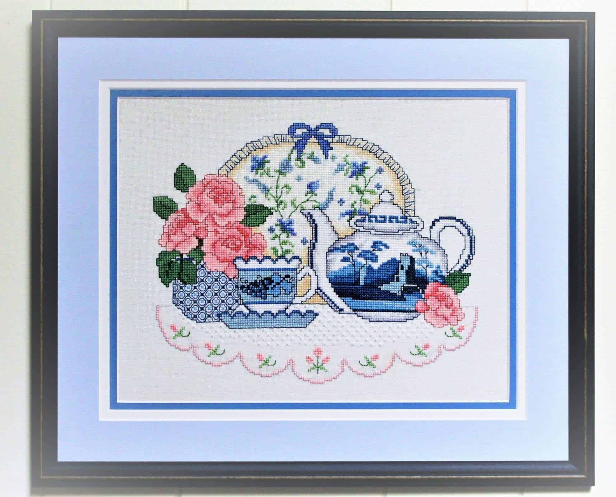 Needlework, Oriental Blue Willow, Hand Stitched, Tea Time