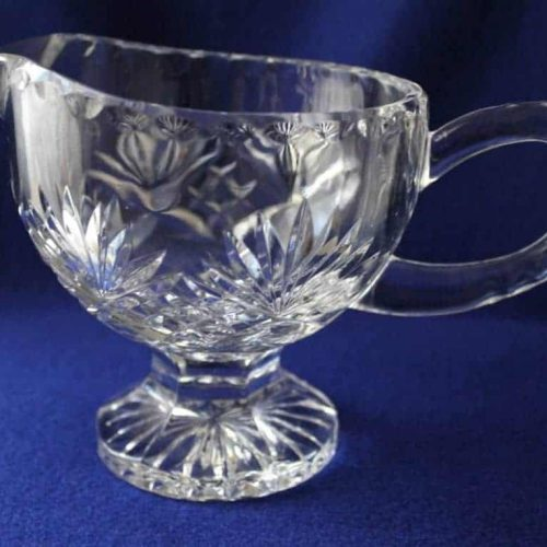 """Gravy Boat, Footed Crystal, """"Christie"""" Pattern Bohemia, 24% Lead Crystal"""