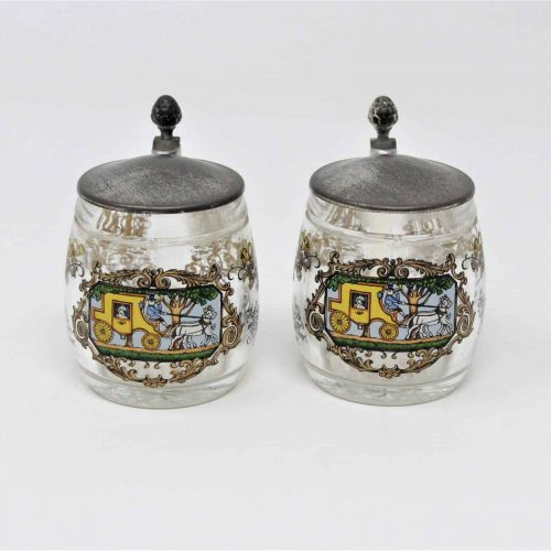 Mug, Beer Mini Steins, Pewter Lid, German BMF Rein-Zinn, Set of 2