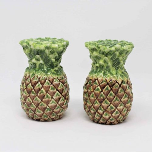 Salt and Pepper Shakers, Pineapple Shaped, Ceramic