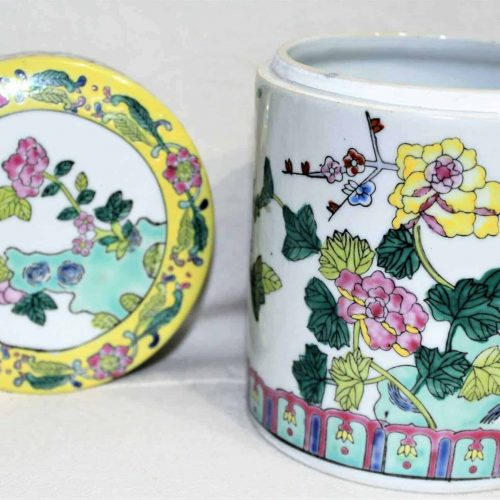 Canister / Tea Caddy / Tobacco Jar, Chinese Famille Rose Porcelain, SOLD