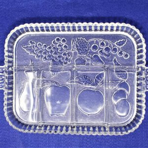 Tray, Divided 5 Section, Relish Tray / Platter, Fruits Clear, Indiana Glass