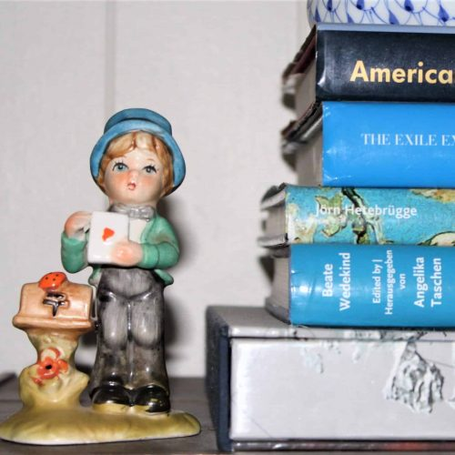 "Figurine, Arnart 5th Avenue ""Boy with Love Letter"", Porcelain Bisque, Hand Painted"