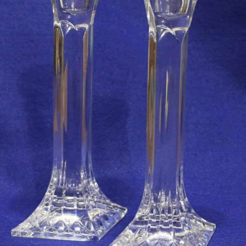 "Candle Holders Crystal Tapers ""Carlingford"" by Stuart Crystal, Set of 2"