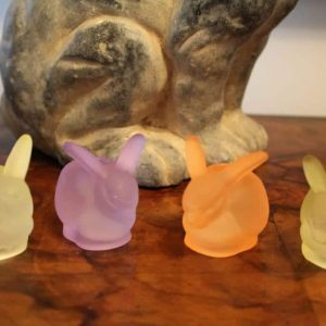 Candle Holders, Bunnies Tiny Tapers, Frosted Glass Williams Sonoma, Set of Four