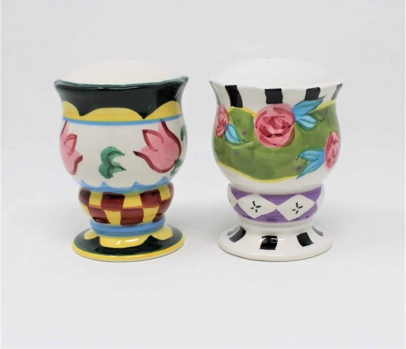 Salt and Pepper Shakers, Whimsical / Unique Floral Design, Ceramic Tulips/Roses