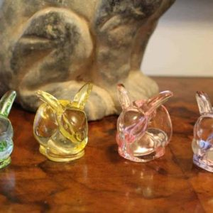 Candle Holders, Bunny Tiny Tapers by Williams Sonoma, Set of Four, Clear Colored Glass, SOLD