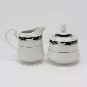 """Creamer and Sugar Bowl with Lid, """"Black Fantasy"""" Majesty Collection by Sango, 3pcs"""