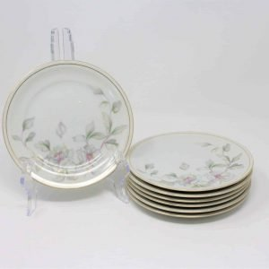 """Plates Dessert / Bread & Butter, """"Springtime"""" by Meito China Set of 7"""