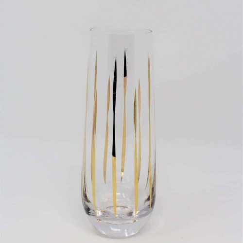 Vase, Blown Glass, Gold Stripes, Bud Vase, Retro