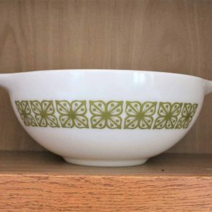 """Ovenware, Pyrex Cinderella Mixing Bowl 444, """"Autumn Floral"""" (Verde), by Corning"""