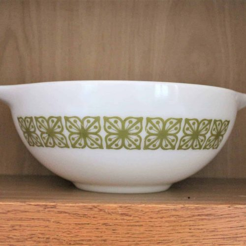 "Ovenware, Pyrex Cinderella Mixing Bowl 444, ""Autumn Floral"" (Verde), by Corning"