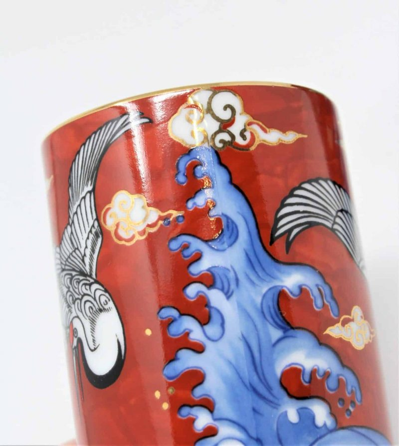 Teacups, Japanese Yunomi Style, Red Crowned Crane and Waves, Takahashi, Set of 2, Japan