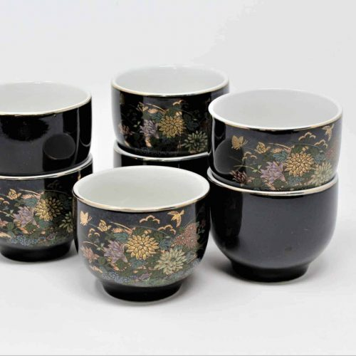 Teacups, Japanese Chawan Style, Céramique Noire, Floral, Set of 7, Japan