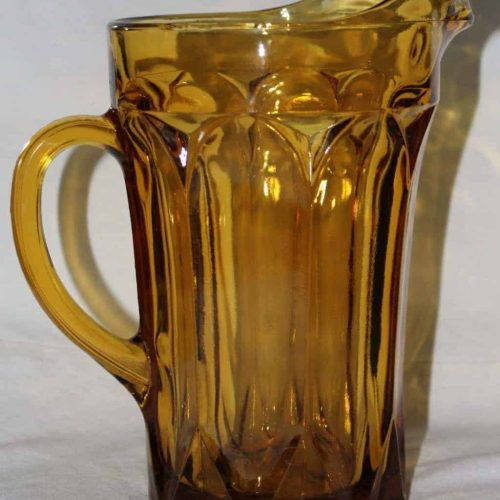 "Pitcher Amber Glass, ""Fairfield"" by Anchor Hocking"