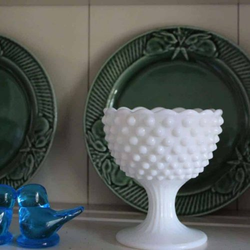 "Candy Dish / Bowl, Footed ""Hobnail"" Milk Glass, SOLD"