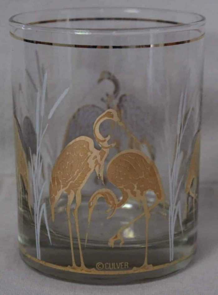 "Glasses, Rocks/Whiskey, Culver ""Sandhill Crane"", 22K Gold, Set of 4 SOLD"