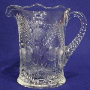 """Pitcher Pressed Glass, """"Inverted Thistle"""" by Mosser Glass, SOLD"""