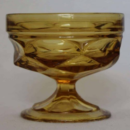 "Cup, Dessert / Low Sherbet / Pudding, Amber Glass, ""Fairfield"" by Anchor Hocking, Set of 6"