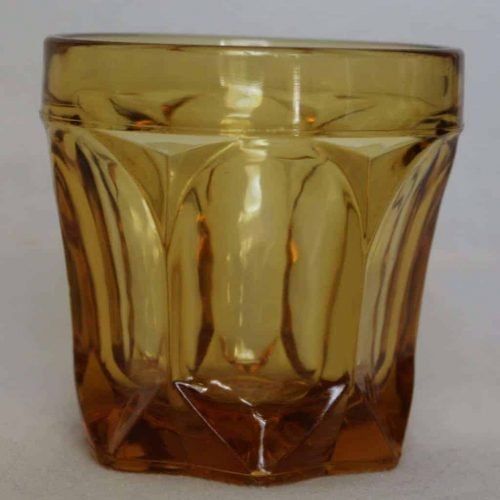 "Glasses, Rocks/Whiskey, Amber ""Fairfield"" by Anchor Hocking, Set of 4"