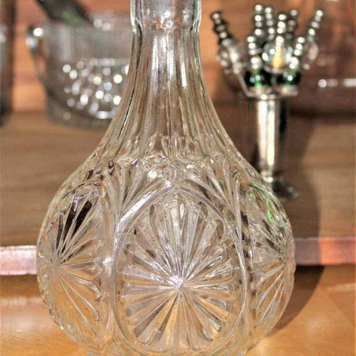 Decanter, Mid Century Pressed Glass, Sunburst Design, Round
