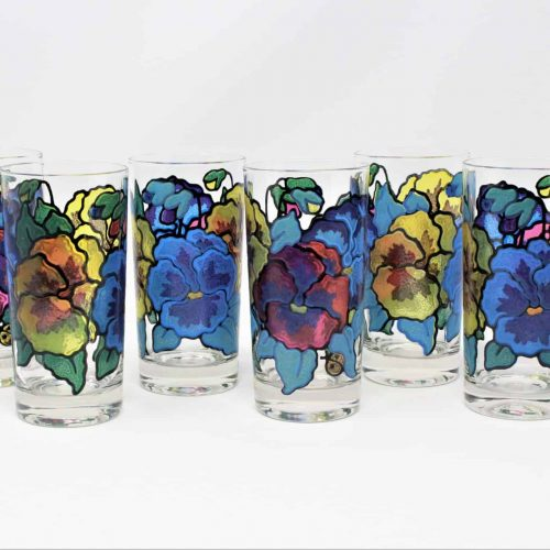 Glasses, Highball/Tumbler, Stained Glass Pansies by Pasinski, Mt Washington Glass, Set of 6