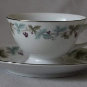"""Teacup and Saucer, """"Vintage 6701"""" by Fine China of Japan, Grape Vines"""