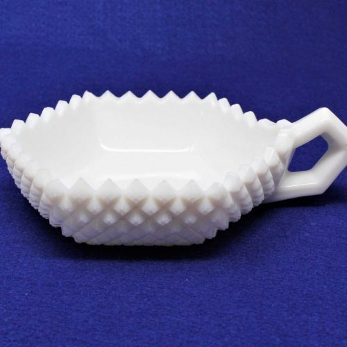 "Candy Dish / Bon Bon with Handle, Milk Glass, ""English Hobnail"" by Westmoreland"