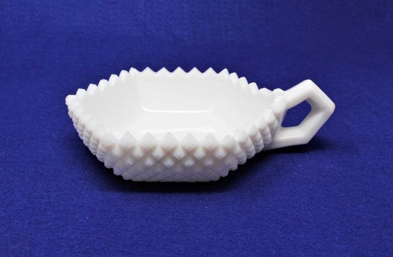 """Candy Dish / Bon Bon with Handle, Milk Glass, """"English Hobnail"""" by Westmoreland"""
