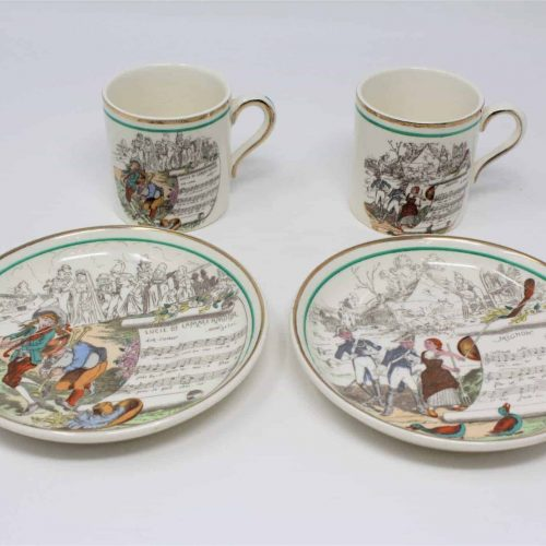 Demitasse Cup and Saucer Set, French Operas Cups, PV, Peasant Village, Set of 2