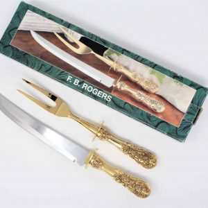 Carving Set, Gold Plated, F.B. Rogers Silver Co., In Box